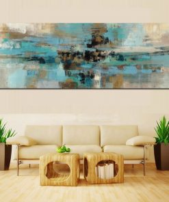 Light Blue Canvas Painting Posters and Prints Modern Abstract Oil Painting
