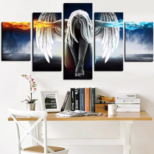 5Panel 3D Angeles Girls Canvas Painting Anime Demons Children's Room Modular Wall Pictures Art HD Print for Living Room Cuadros