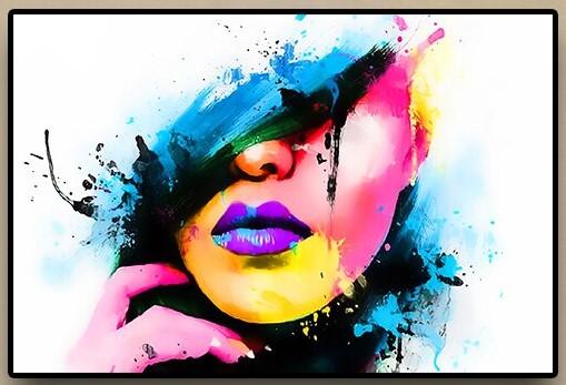 Girl Face Pop Art Watercolor Painting