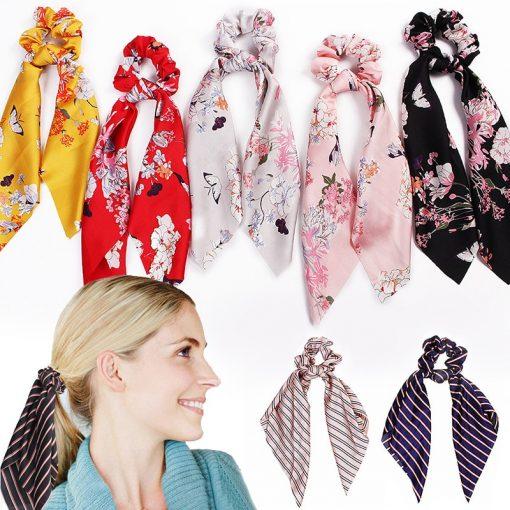 Floral Satin Scrunchies Women Elastic Hair Bands Ties Scarf Woman Scrunchy Hairbands Turban Head Wrap Hair Accessories Headwear