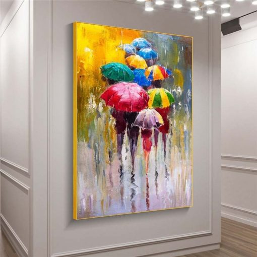 Abstract Girls Holding Umbrella Oil Paintings Print On Canvas Art Posters And Prints Modern Wall Art Pictures Home Decoration