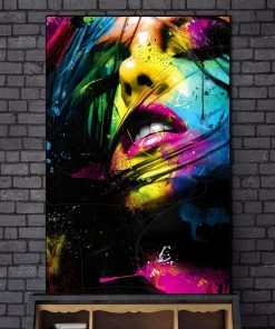 Colorful Girl Face Painting art printed on canvas