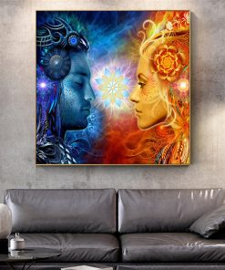 Art Canvas Painting Tantra Shiva and Sati Print on Canvas