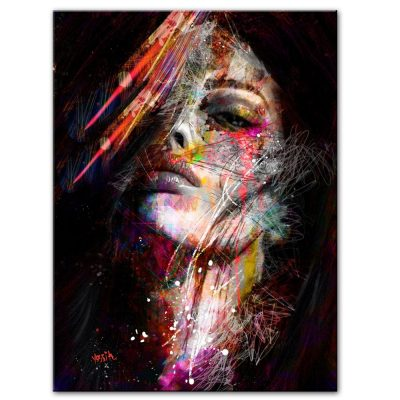 Abstract Art Painting Colorful Woman Face Graffiti Prints on Canvas