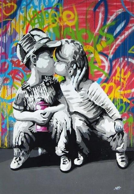 Art Abstract Painting Banksy Graffiti Prints on Canvas, , Home Decor