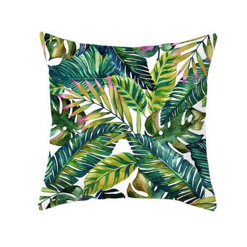 Tropical Plants Cushion Cover Polyester Green Leaves Decorative Pillowcase Tropical Plant Throw Pillow Case Cushion Cover
