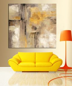 HD Print Yellow Gray Abstract Oil painting on Canvas Scandinavian Art Poster Wall Picture for Living Room Sofa Home Decoration
