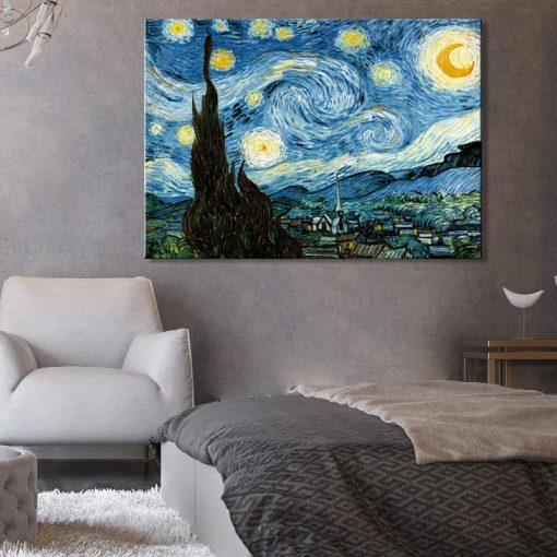 Famous Art Painting Van Gogh Starry Night Prints on Canvas