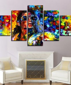 Canvas Art 5 Pieces Painting of King Star Michael Jackson, Prints on Canvas
