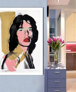 Art Painting Famous Star Mick Jagger by Warhol Print on Canvas