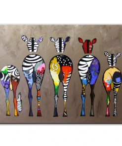 Canvas Prints Abstract Colorful Zebra Painting