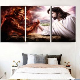 3 Lucifer VS Jesus Combat Canvas Painting Unframed Wall Art Pictures for Bedroom Living Room Hanging Pictures Home Decoration