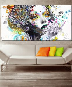 AAVV Wall Art Girl With Flowers Oil Painting Poster And Prints Painting On Canvas No Frame Pictures Decor For Living Room
