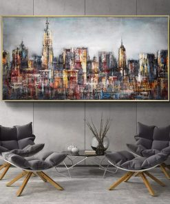 Abstract City Landscape Wall Art Canvas Prints Modern Pop Wall Graffiti Art Paintings Decorative Pictures For Living Room Decor