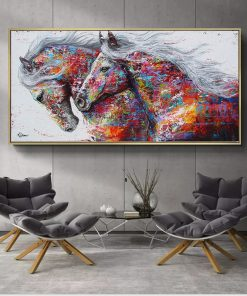 SELFLESSLY Animal Art Two Running Horses Canvas Painting Wall Art Pictures For Living Room Modern Abstract Art Prints Posters