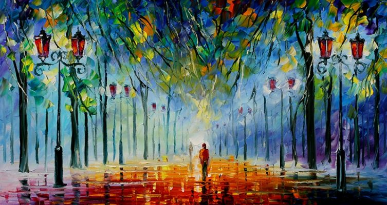 Landscape Painting Wall Art Oil Painting Lover in The Rainy Light Road Canvas Painting Wall Pictures for Living Room Home Decor