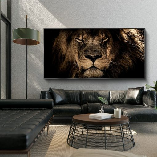 African Lion Head Art Canvas, Home Decoration Wall Art Poster Print on Canvas