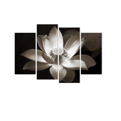 4Pcs Lotus Flowers Canvas Print Paintings Wall Decorative Print Art Pictures Frameless Wall Hanging Decorations for Home Office