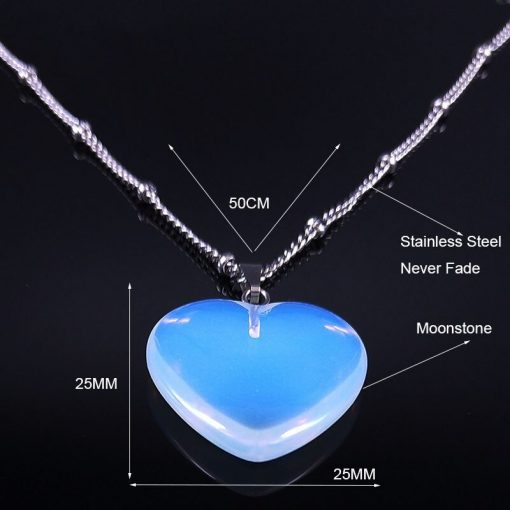 2020 Fashion Heart Moonstone StainlessSteel Necklace for Women Silver Color Necklace Chain Jewelry colgantes mujer moda NG29S04