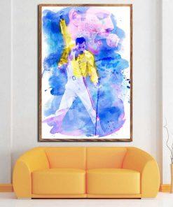 Painting of Legendary Pop Star Freddie Mercury - Print on Canvas