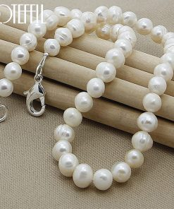 DOTEFFIL 8mm Natural Pearl 925 Sterling Silver Necklace 18 inches Chain For Woman Engagement Wedding Party Jewelry