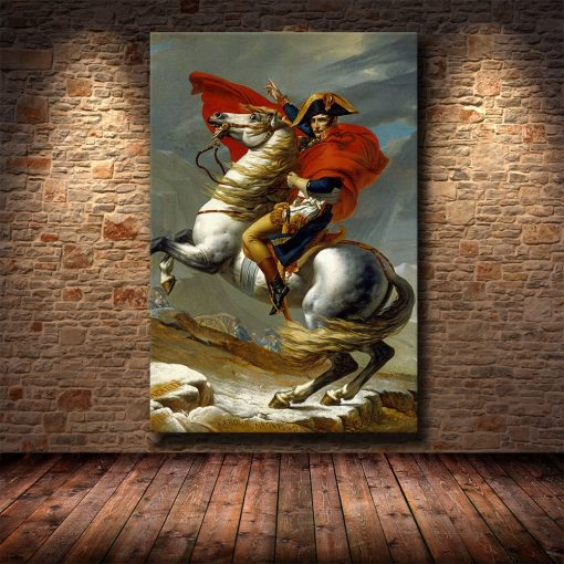 Classic Art Painting Napoleon Crossing the Alps by Jacques-Louis David - Printed on Canvas