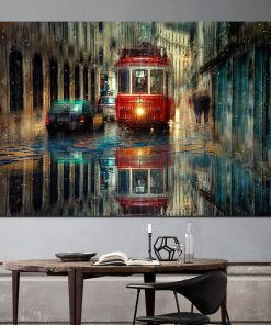 Vagueness of The Street Scenery In Rainy Day, Wall Art Oil Painting Printed on Canvas