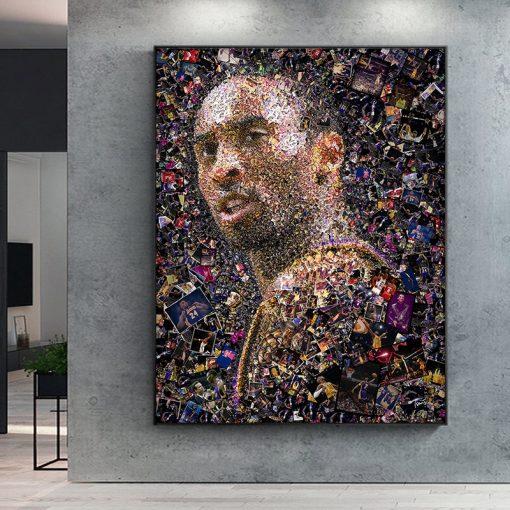"Mosaic Illustration Art Painting of Basketball Star "" Kobe Bryant "" Printed on Canvas"