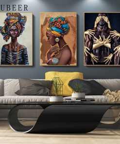 African Abstract Art Oil Painting, Modern Wall Art Printed on Canvas