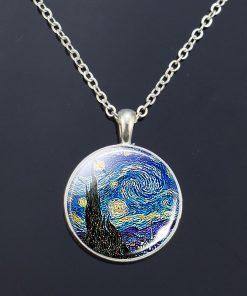 Van Gogh Necklace Van Gogh's Art Painting Print Glass Cabochon Pendant Chain Necklace Fashion Jewelry Necklaces for Women Men