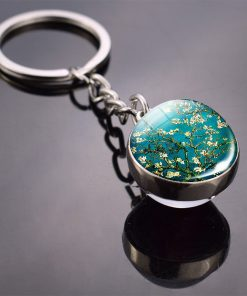 Famous Art Oil Painting Keychain Van Gogh Starry Night Picture Double Side Glass Ball Key Chains for Women Dropshipping Keychain