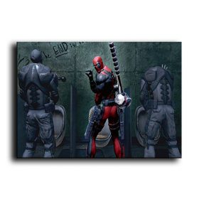 Funny Moment of Deadpool, Digital Art Painting Print on Canvas