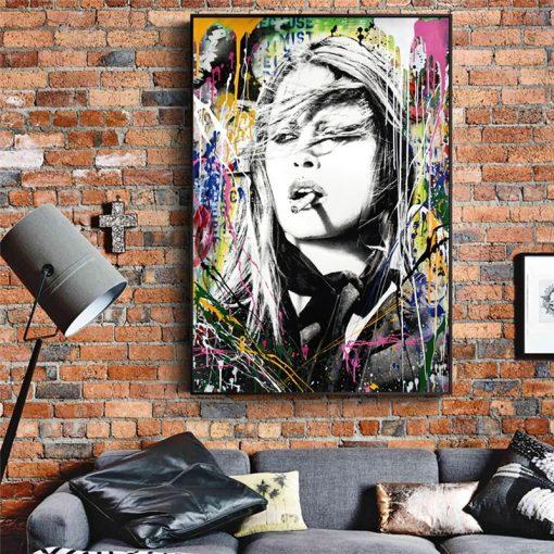 Graffiti Art Brigitte Bardot's Painting, Wall Art Home Decor printed on canvas