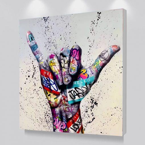 Graffiti Art The Shaka Sign, Modern Abstract Wall Art Printed on Canvas