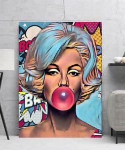 Pop Art Comic Illustration Marilyn Monroe Printed on Canvas