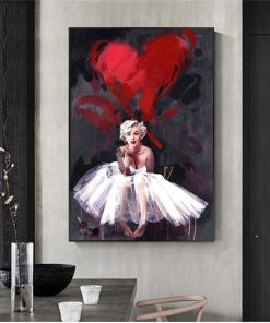 Marilyn Monroe Portrait Oil Painting, Abstract Wall Art Printed on Canvas
