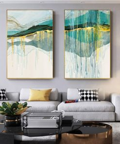 Gold Green Blue Abstract Art Painting, Wall Art Nordic Style Print on Canvas