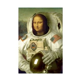 Funny Art Painting Mona Lisa is an astronaut, Modern Wall Decoration Printed on Canvas