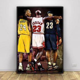 Basketball Star Players Kobe Bryant, LeBron James and Michael Jordan, Abstract Art Painting Printed on Canvas