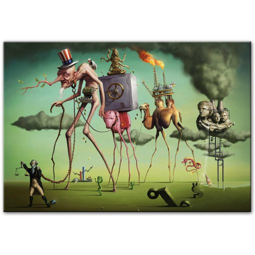 """""""The American Dream"""" by By Salvador Dali Wall Art Canvas Paintings Famous Artwork Reproductions Wall Pictures For Living Room"""