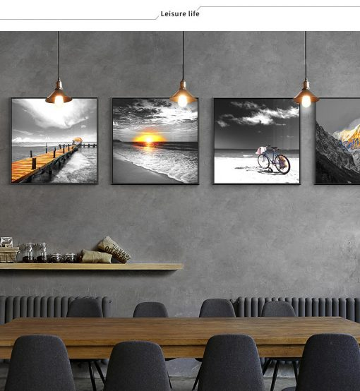 Modern Art Beautiful Nordic Scenery, Wall Art Print on Canvas