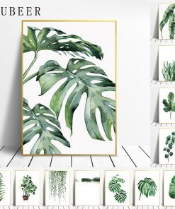Scandinavian Style Tropical Plants Oil Painting, Modern Wall Art Printed on Canvas