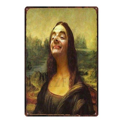 "Funny Modern Art Painting "" Mona Lisa "" Printed on Metal"