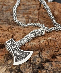 Men's Viking Celtic Wolf Raven Axe Pendant Odin's Symbol scandinavian Rune Leather Rope Nacklace Charm Male norse Amulet Jewelry