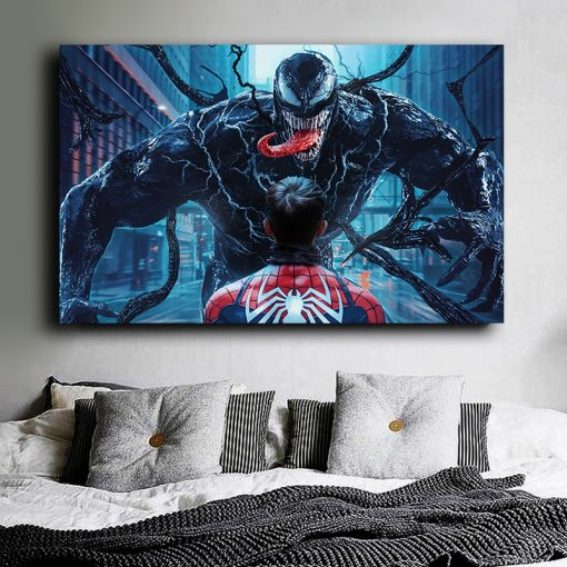 """Venom"" The enemy of Spiderman, Digital Art Painting Printed on Canvas"