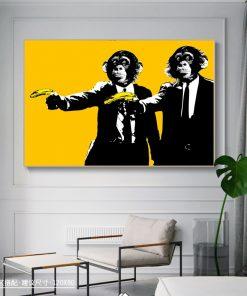Funny Monkeys Bananas Pulp Fiction Modern Art Painting Printed on Canvas