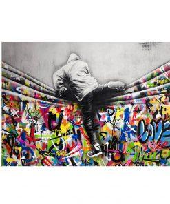 Classic Banksy Graffiti Street Art Behind The Curtain Printed on Canvas