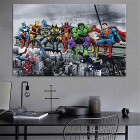 Abstract Wall Art Funny Superheros Worker on Building Bridge Wall Pictures Living Room Home Decor Big Canvas Poster and Prints