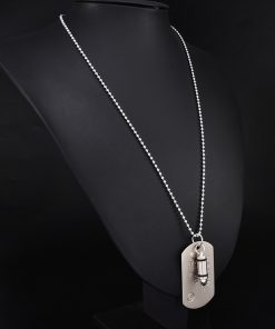 High Quality Fashion Men Military Army Bullet Charm Dog Tags SINGLE EMBOSSED Chain Pendant Necklace Jewelry Gift