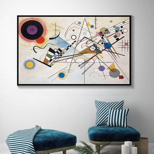 Composition 8 Abstract Art Painting By Wassily Kandinsky, Modern Wall Art Printed on Canvas